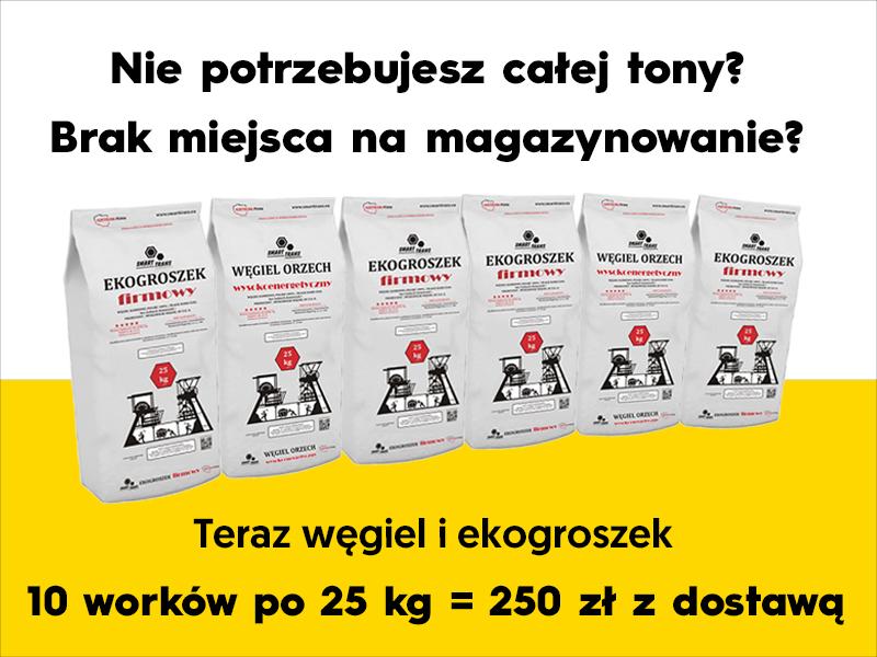 10 worków po 25kg z dostawą 250zł Węgiel Staszic,Wesoła.Ekogroszek Wesoła 100%,Ekogroszek typ Kazimierz