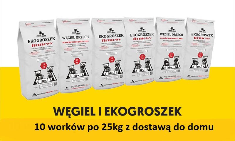 10 worków po 25kg z dostawą 250zł Węgiel Staszic,Wesoła.Ekogroszek Wesoła 100%,Ekogroszek typ Kazimierz lub tańsza opcja WĘGIEL ORZECH II z KWK SOBIESKI i EKOGROSZEK typ PIAST w cenie 220zł